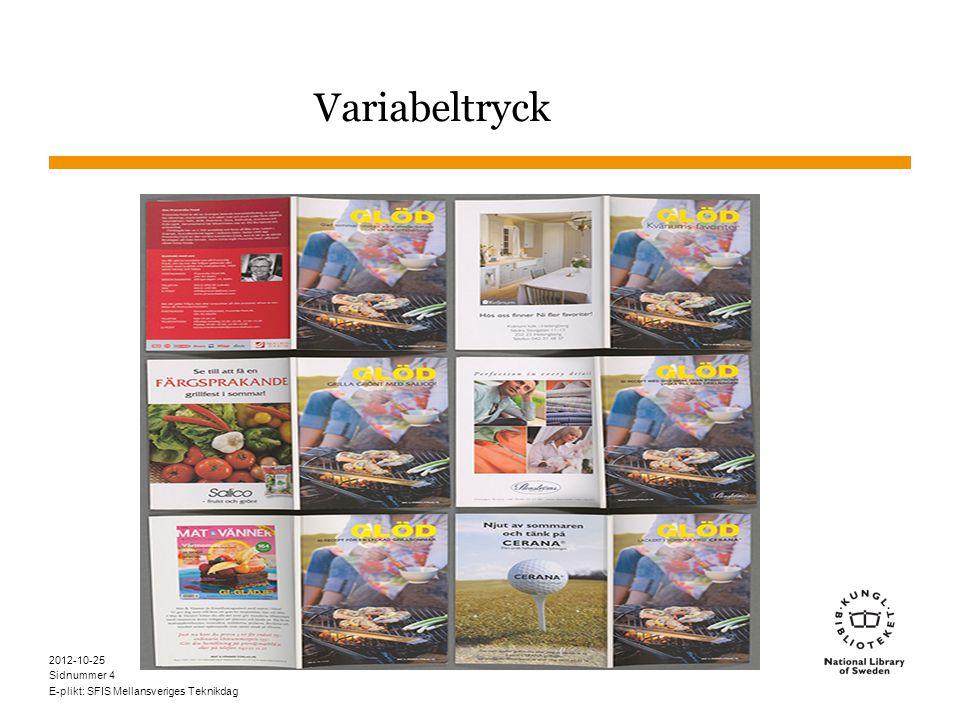 Sidnummer 2012-10-25 E-plikt: SFIS Mellansveriges Teknikdag 4 Variabeltryck
