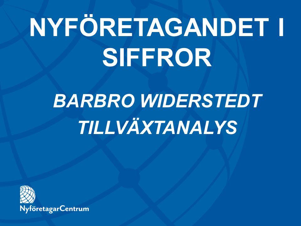 BARBRO WIDERSTEDT TILLVÄXTANALYS NYFÖRETAGANDET I SIFFROR