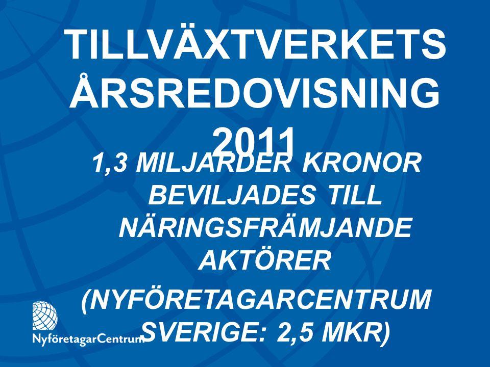 1,3 MILJARDER KRONOR BEVILJADES TILL NÄRINGSFRÄMJANDE AKTÖRER (NYFÖRETAGARCENTRUM SVERIGE: 2,5 MKR) TILLVÄXTVERKETS ÅRSREDOVISNING 2011