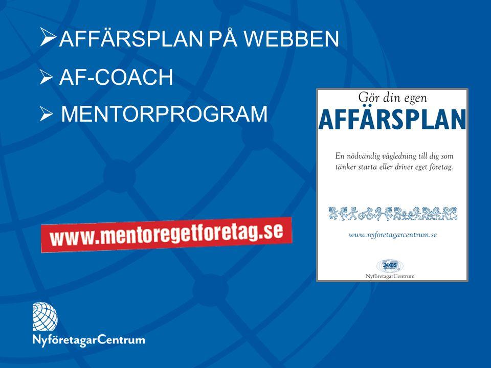  AFFÄRSPLAN PÅ WEBBEN  AF-COACH  MENTORPROGRAM
