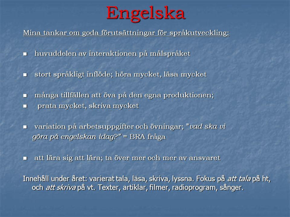 Engelska Mina tankar om goda förutsättningar för språkutveckling:  huvuddelen av interaktionen på målspråket  stort språkligt inflöde; höra mycket,