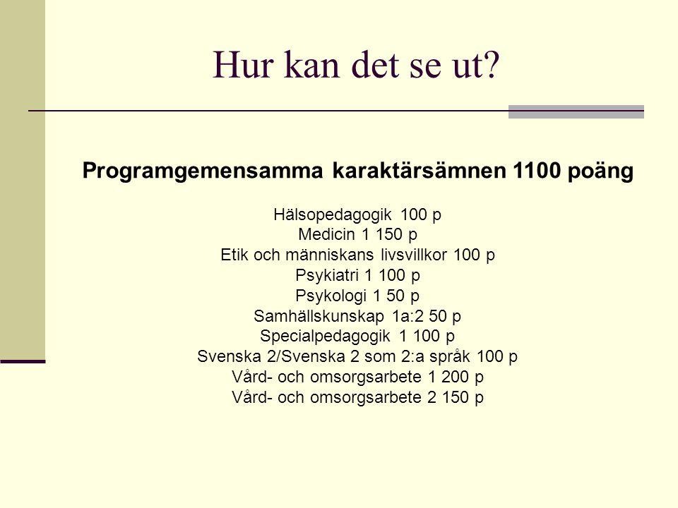 Hur kan det se ut? Programgemensamma karaktärsämnen 1100 poäng Hälsopedagogik 100 p Medicin 1 150 p Etik och människans livsvillkor 100 p Psykiatri 1