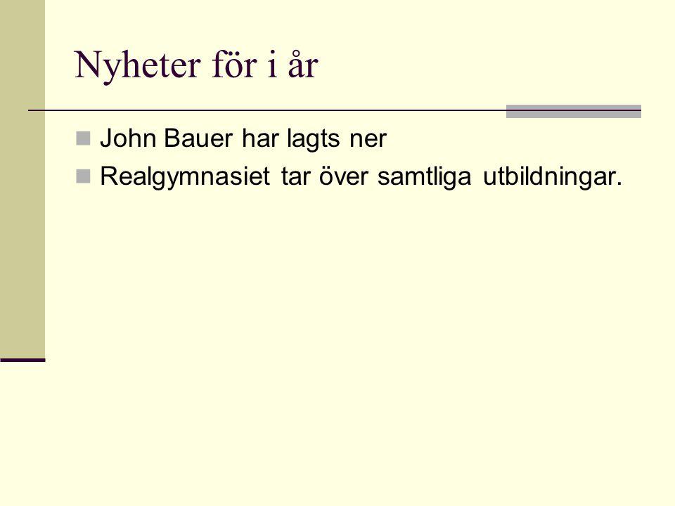 Nyheter för i år  John Bauer har lagts ner  Realgymnasiet tar över samtliga utbildningar.