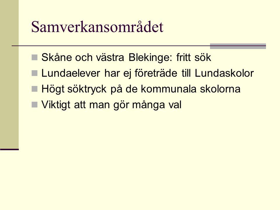 Samverkansområdet  Skåne och västra Blekinge: fritt sök  Lundaelever har ej företräde till Lundaskolor  Högt söktryck på de kommunala skolorna  Vi