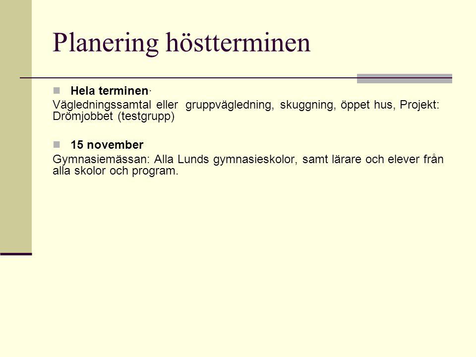 Planering höstterminen  Hela terminen· Vägledningssamtal eller gruppvägledning, skuggning, öppet hus, Projekt: Drömjobbet (testgrupp)  15 november G