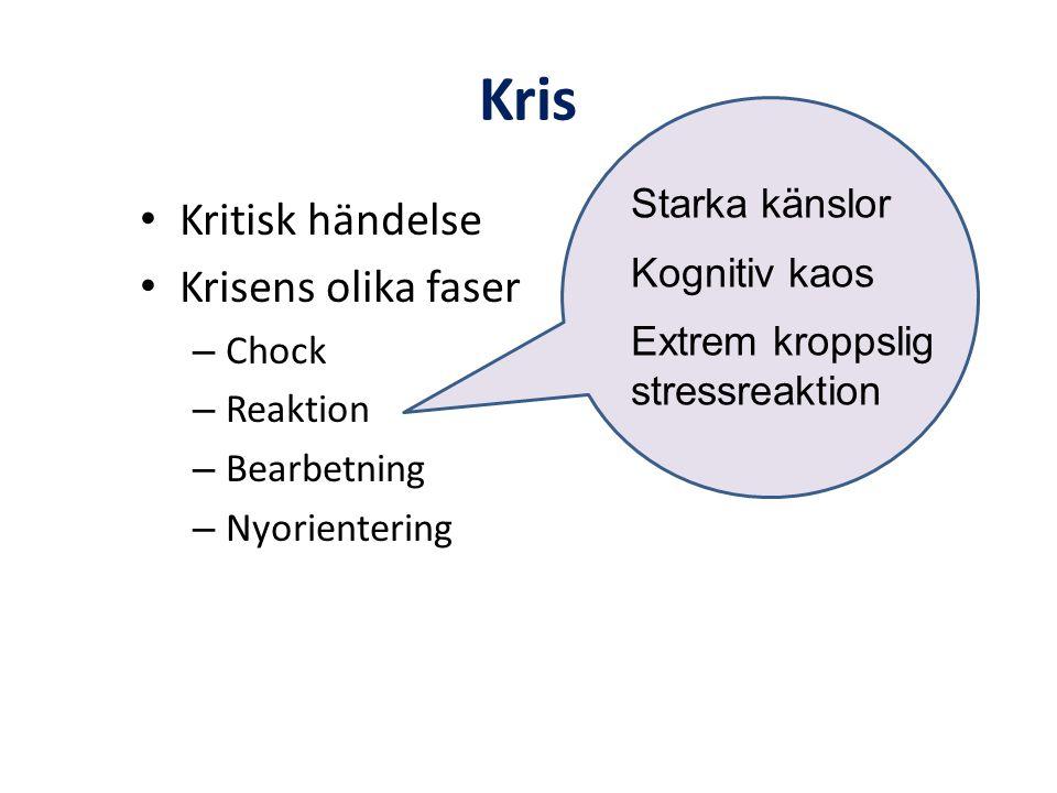 Kris • Kritisk händelse • Krisens olika faser – Chock – Reaktion – Bearbetning – Nyorientering Starka känslor Kognitiv kaos Extrem kroppslig stressrea