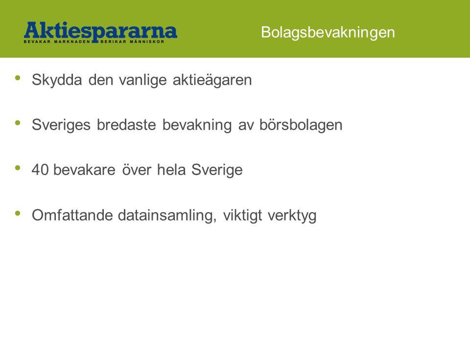 Bolagsbevakningen • Skydda den vanlige aktieägaren • Sveriges bredaste bevakning av börsbolagen • 40 bevakare över hela Sverige • Omfattande datainsamling, viktigt verktyg