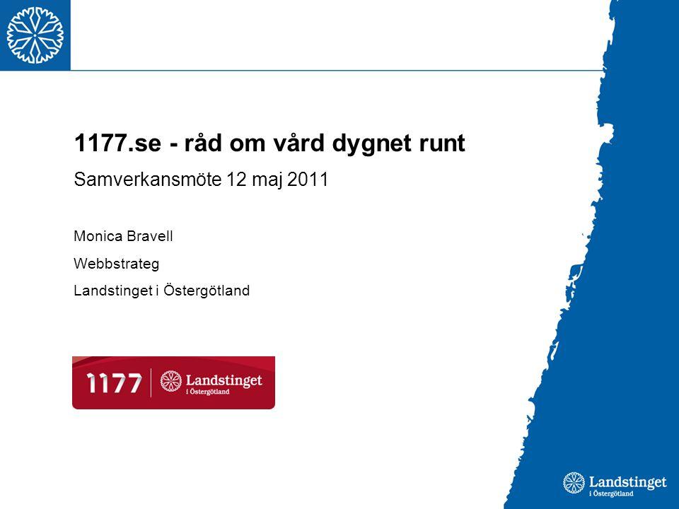 1177.se - råd om vård dygnet runt Samverkansmöte 12 maj 2011 Monica Bravell Webbstrateg Landstinget i Östergötland