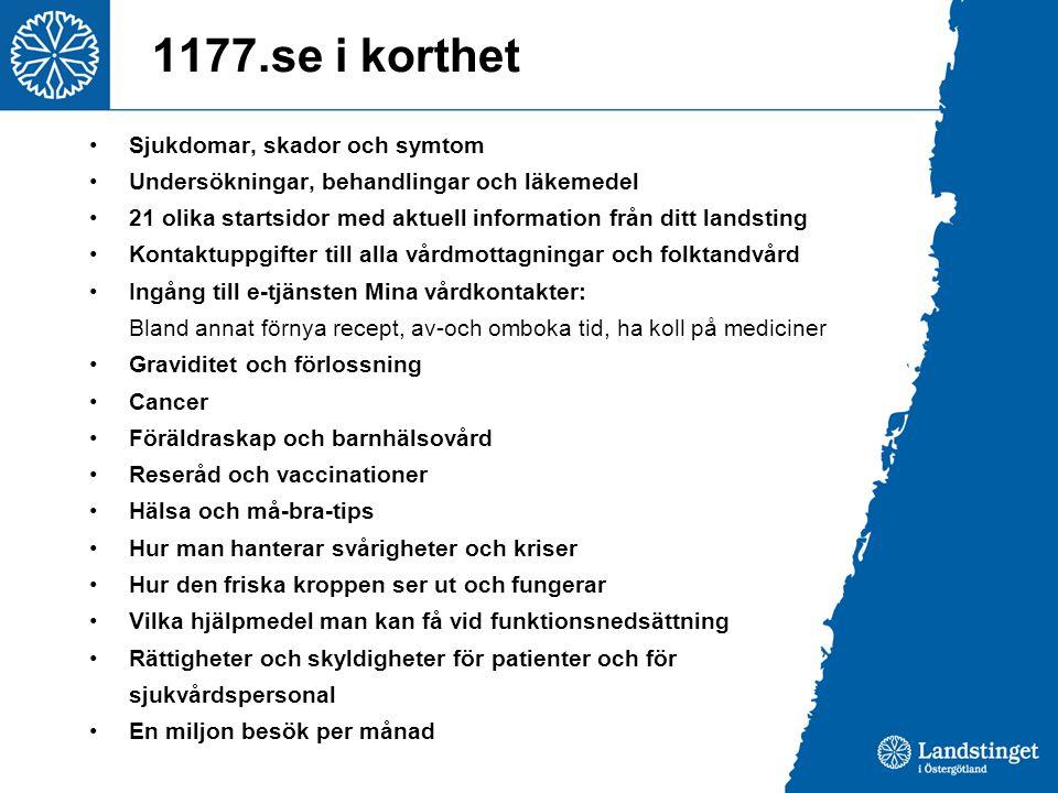 1177.se i korthet •Sjukdomar, skador och symtom •Undersökningar, behandlingar och läkemedel •21 olika startsidor med aktuell information från ditt lan