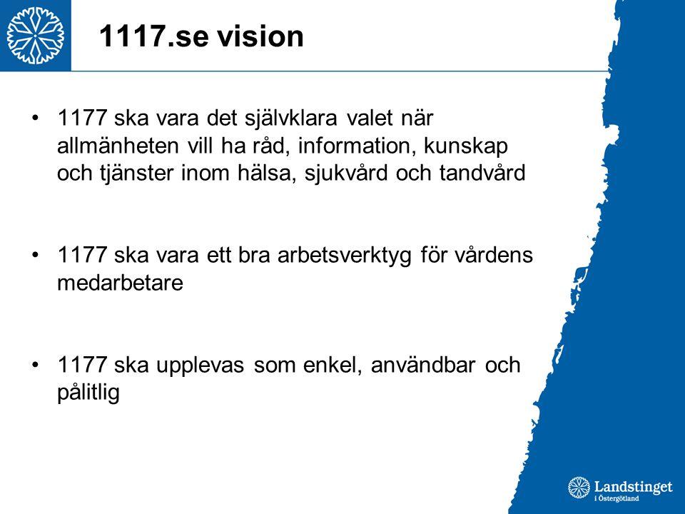 1117.se vision •1177 ska vara det självklara valet när allmänheten vill ha råd, information, kunskap och tjänster inom hälsa, sjukvård och tandvård •1177 ska vara ett bra arbetsverktyg för vårdens medarbetare •1177 ska upplevas som enkel, användbar och pålitlig