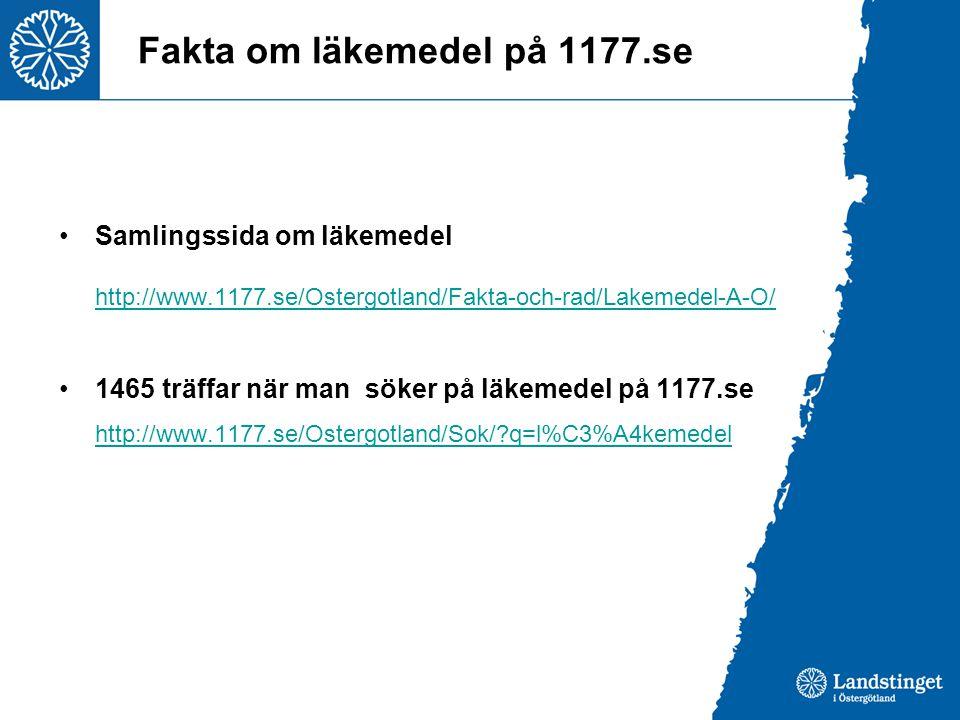 Fakta om läkemedel på 1177.se •Samlingssida om läkemedel http://www.1177.se/Ostergotland/Fakta-och-rad/Lakemedel-A-O/ •1465 träffar när man söker på läkemedel på 1177.se http://www.1177.se/Ostergotland/Sok/?q=l%C3%A4kemedel