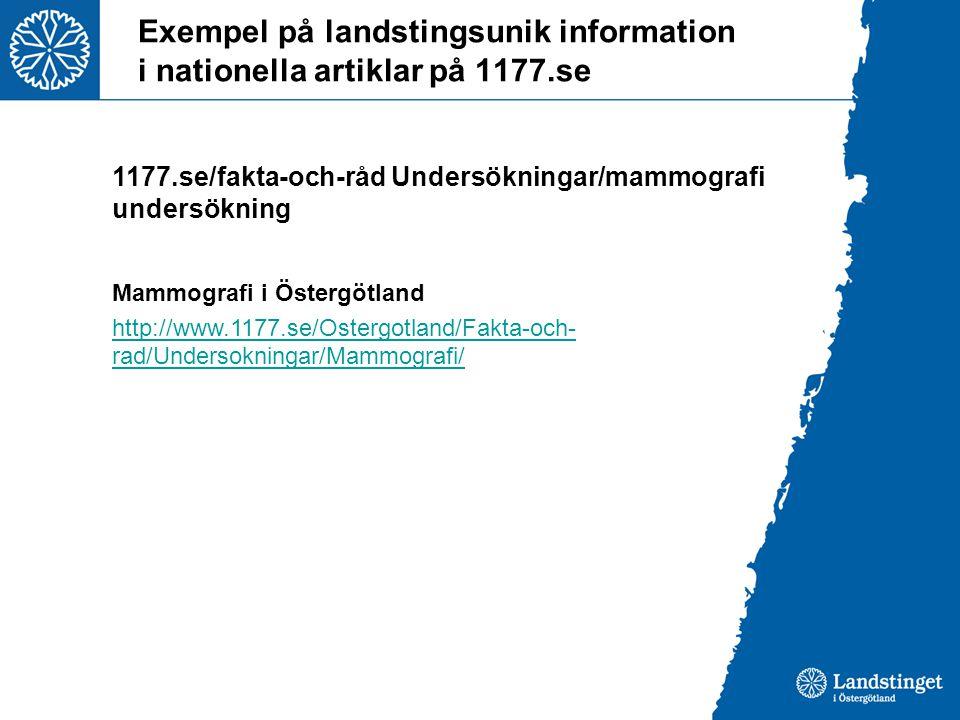 Exempel på landstingsunik information i nationella artiklar på 1177.se 1177.se/fakta-och-råd Undersökningar/mammografi undersökning Mammografi i Östergötland http://www.1177.se/Ostergotland/Fakta-och- rad/Undersokningar/Mammografi/