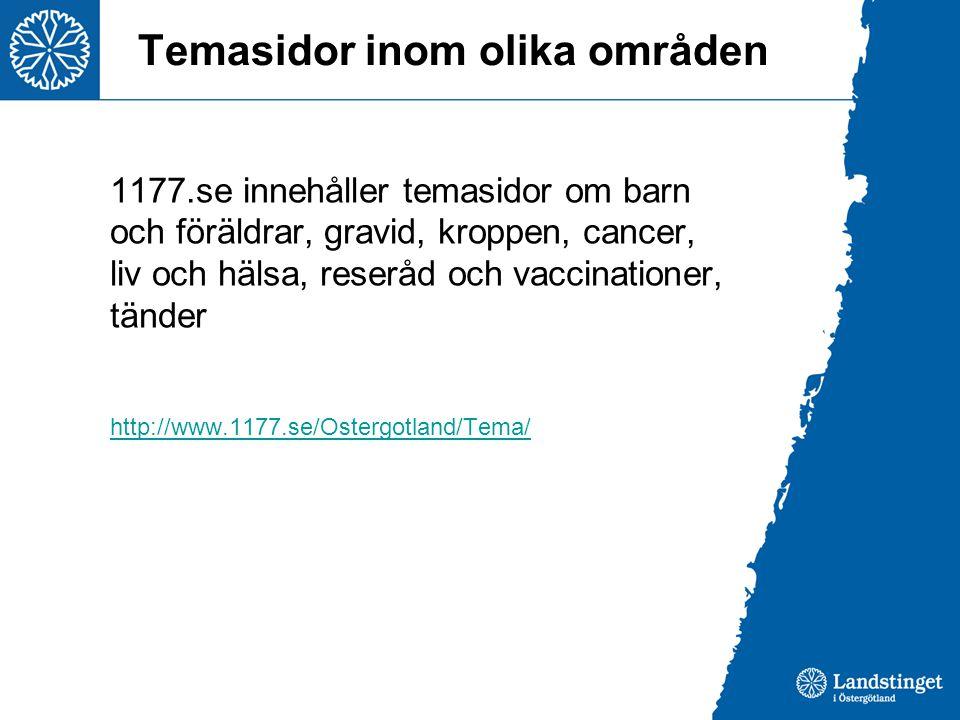 Temasidor inom olika områden 1177.se innehåller temasidor om barn och föräldrar, gravid, kroppen, cancer, liv och hälsa, reseråd och vaccinationer, tä