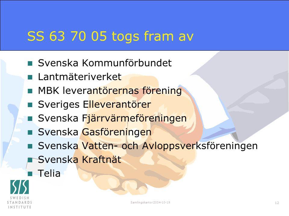 Samlingskartor 2004-10-19 12 SS 63 70 05 togs fram av n Svenska Kommunförbundet n Lantmäteriverket n MBK leverantörernas förening n Sveriges Elleveran