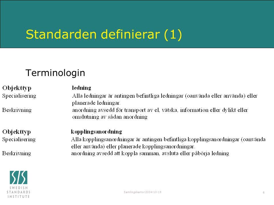 Samlingskartor 2004-10-19 4 Standarden definierar (1) Terminologin