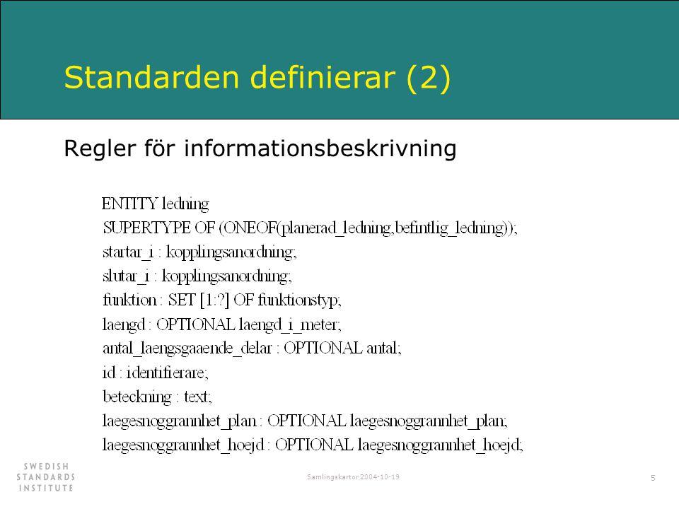 Samlingskartor 2004-10-19 5 Standarden definierar (2) Regler för informationsbeskrivning