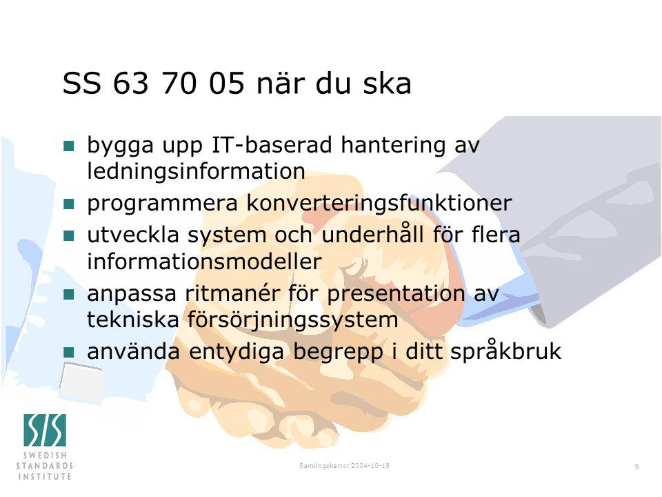 Samlingskartor 2004-10-19 9 SS 63 70 05 när du ska n bygga upp IT-baserad hantering av ledningsinformation n programmera konverteringsfunktioner n utveckla system och underhåll för flera informationsmodeller n anpassa ritmanér för presentation av tekniska försörjningssystem n använda entydiga begrepp i ditt språkbruk