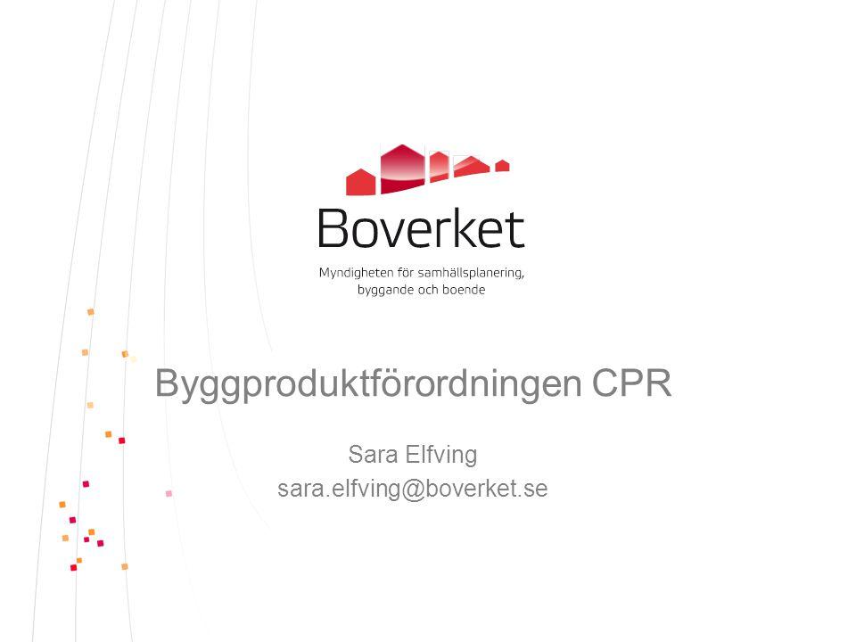 Europaparlamentets och rådets förordning (EU) nr 305/2011 om fastställande av harmoniserade villkor för saluföring av byggprodukter och om upphävande av rådets direktiv 89/106/EEG Byggproduktförordningen – CPR Construction Products Regulation Om Boverkets uppdrag på förra Byggrådet: •Författningsförändringar •Boverket som kontaktpunkt •Informationsinsats om CPR •Bilaga 1 grundläggande krav ger inga nya regler •Avskaffande av systemet för typgodkännande •Obligatorisk prestandadeklaration och CE-märkning från 1 juli 2013 (om det finns harmoniserad standard) 2014-07-02Sida 2
