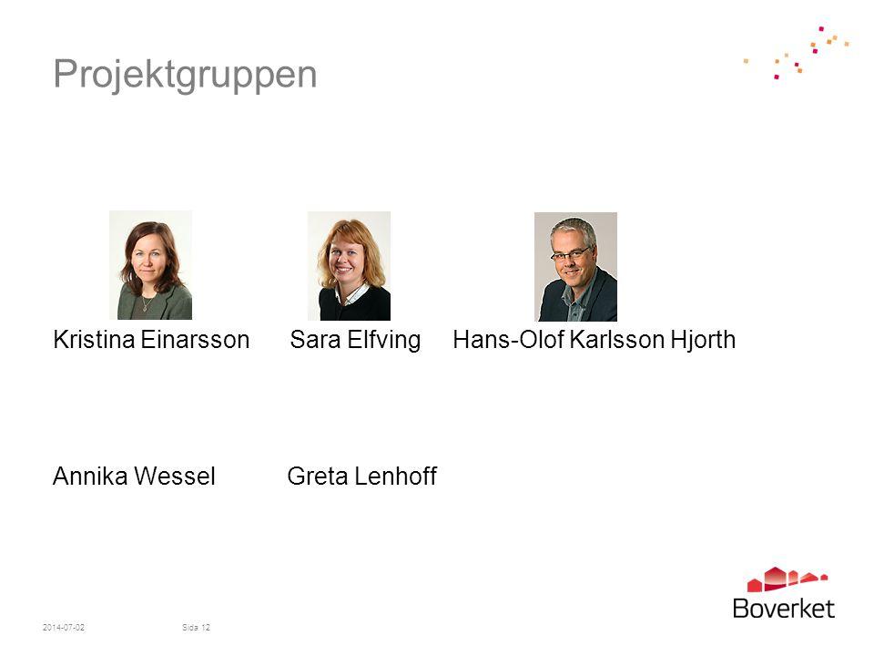 Projektgruppen Kristina Einarsson Sara Elfving Hans-Olof Karlsson Hjorth Annika Wessel Greta Lenhoff 2014-07-02Sida 12