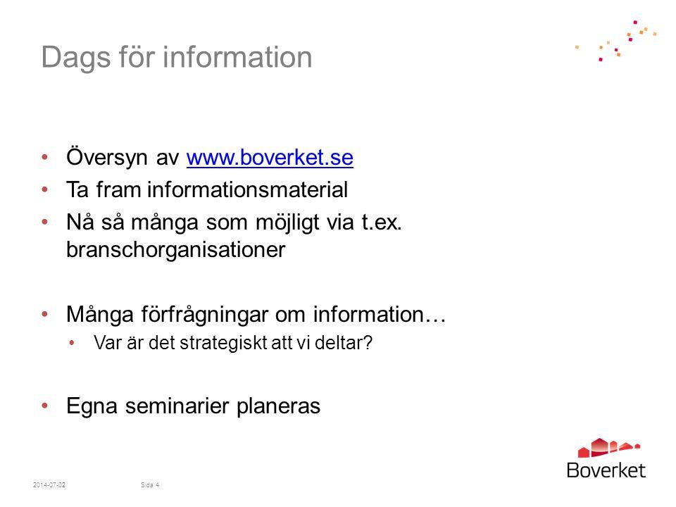Dags för information •Översyn av www.boverket.sewww.boverket.se •Ta fram informationsmaterial •Nå så många som möjligt via t.ex. branschorganisationer
