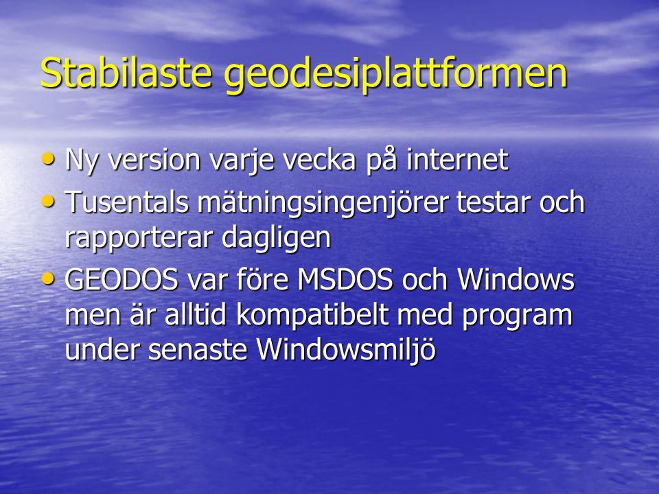 Stabilaste geodesiplattformen • Ny version varje vecka på internet • Tusentals mätningsingenjörer testar och rapporterar dagligen • GEODOS var före MSDOS och Windows men är alltid kompatibelt med program under senaste Windowsmiljö