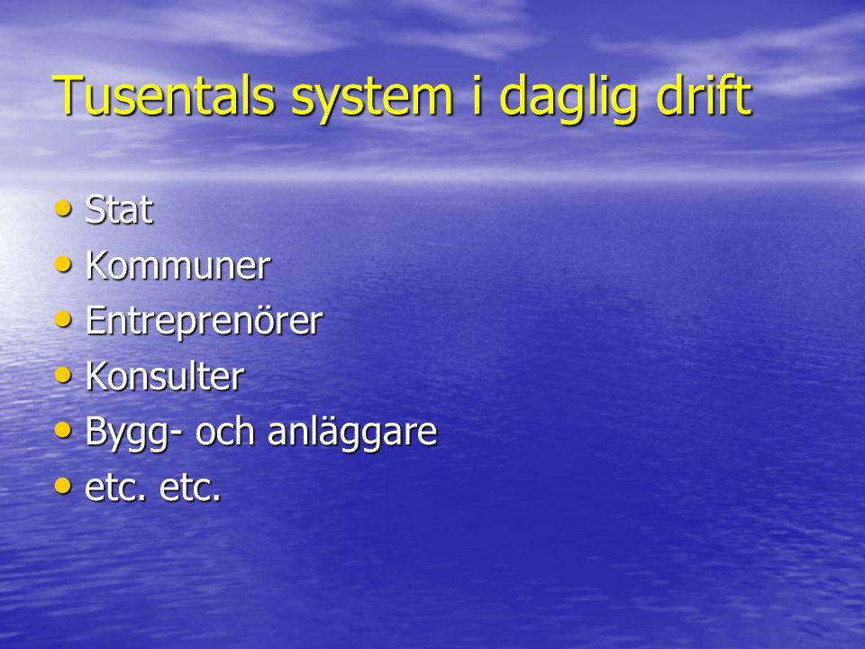 Tusentals system i daglig drift • Stat • Kommuner • Entreprenörer • Konsulter • Bygg- och anläggare • etc. etc.