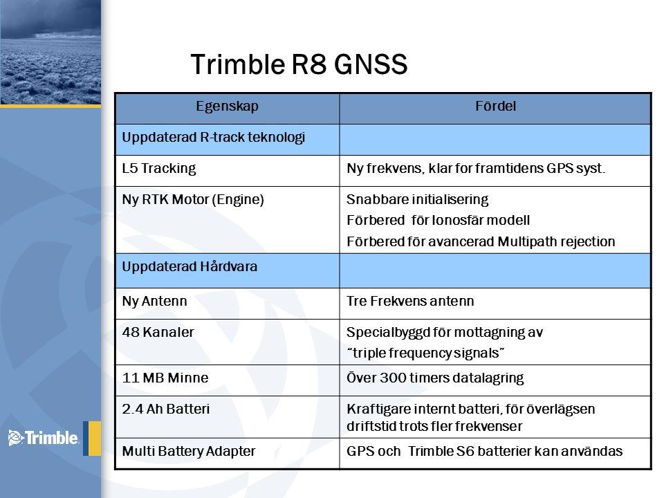 Trimble R8 GNSS EgenskapFördel Uppdaterad R-track teknologi L5 TrackingNy frekvens, klar for framtidens GPS syst. Ny RTK Motor (Engine)Snabbare initia