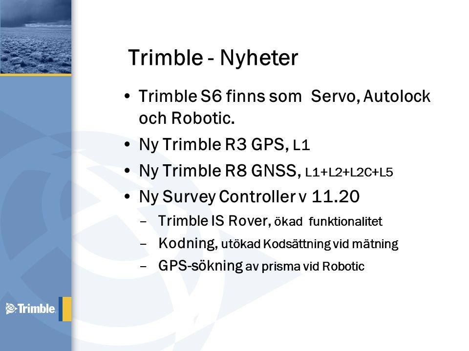 Uppdaterad Hårdvara •Ny Antenn –L5 Tracking –Ny antenn modell –Lite högre lock •48 Kanaler –Avancerat Trimble Maxwell Custom Survey GPS Chip –L1 C/A Code, L2C, L1/L2/L5 Full Cycle Carrier, WAAS/EGNOS