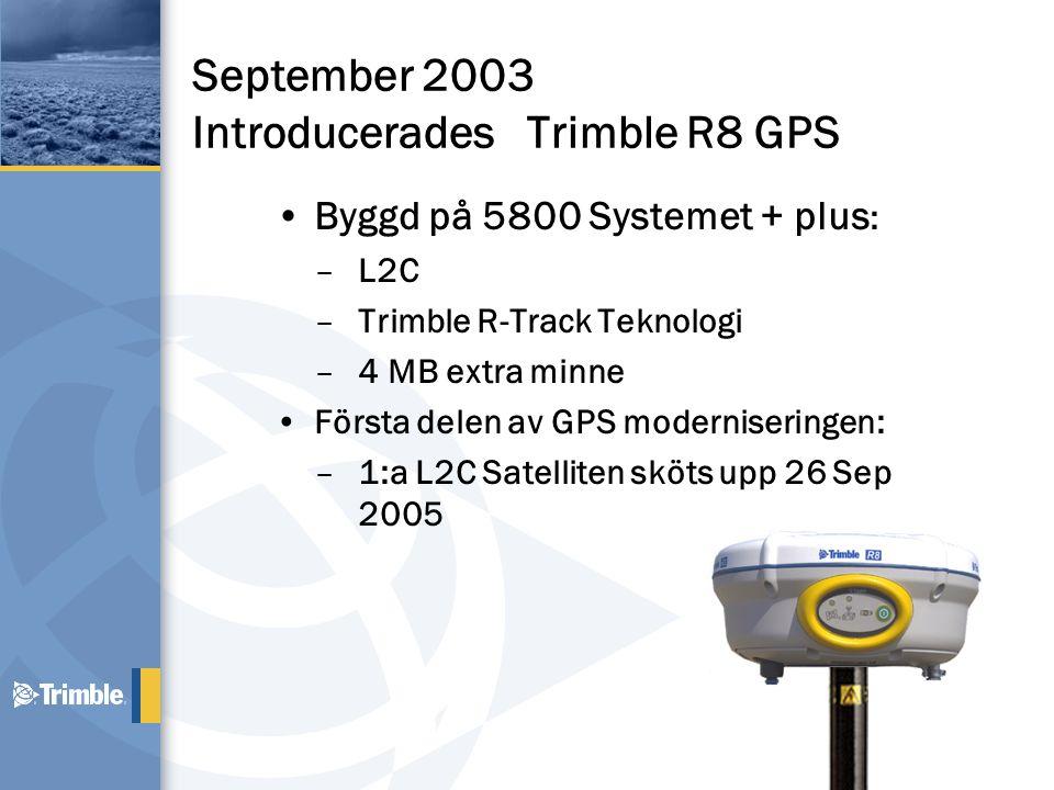 September 2003 Introducerades Trimble R8 GPS •Byggd på 5800 Systemet + plus : –L2C –Trimble R-Track Teknologi –4 MB extra minne •Första delen av GPS m
