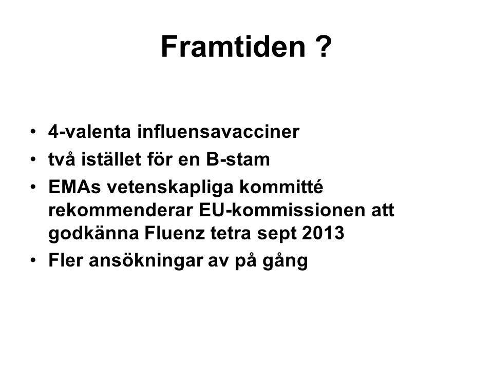 Framtiden ? •4-valenta influensavacciner •två istället för en B-stam •EMAs vetenskapliga kommitté rekommenderar EU-kommissionen att godkänna Fluenz te