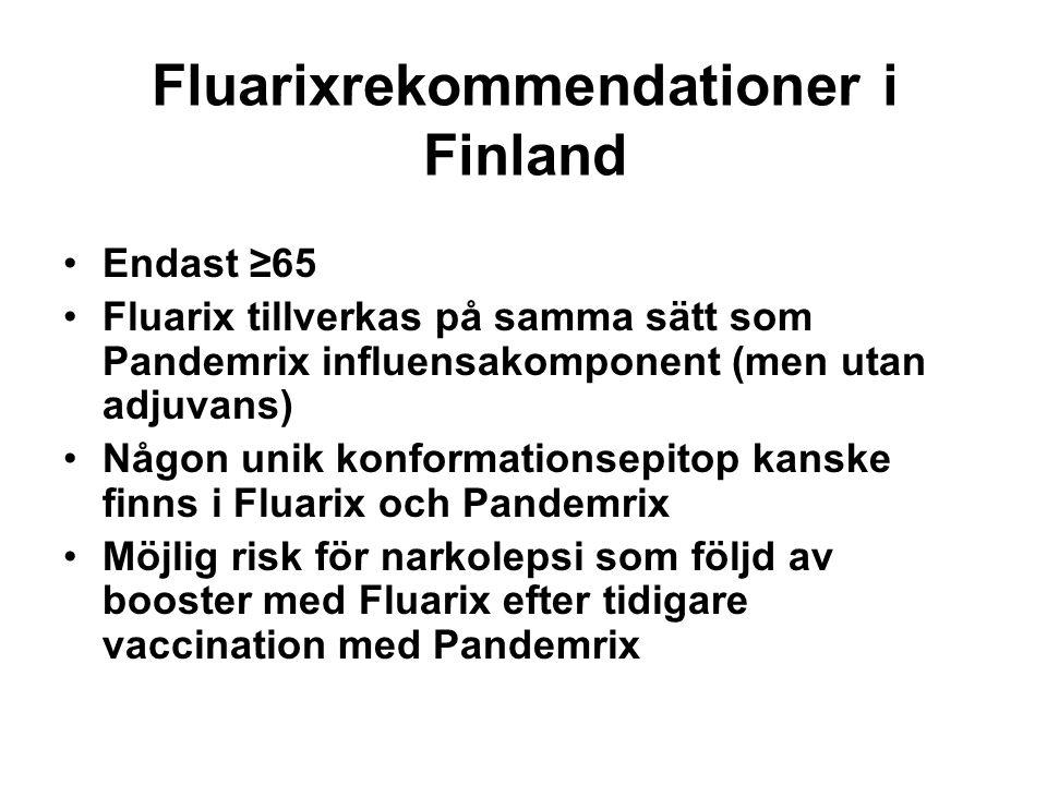 Fluarixrekommendationer i Finland •Endast ≥65 •Fluarix tillverkas på samma sätt som Pandemrix influensakomponent (men utan adjuvans) •Någon unik konformationsepitop kanske finns i Fluarix och Pandemrix •Möjlig risk för narkolepsi som följd av booster med Fluarix efter tidigare vaccination med Pandemrix