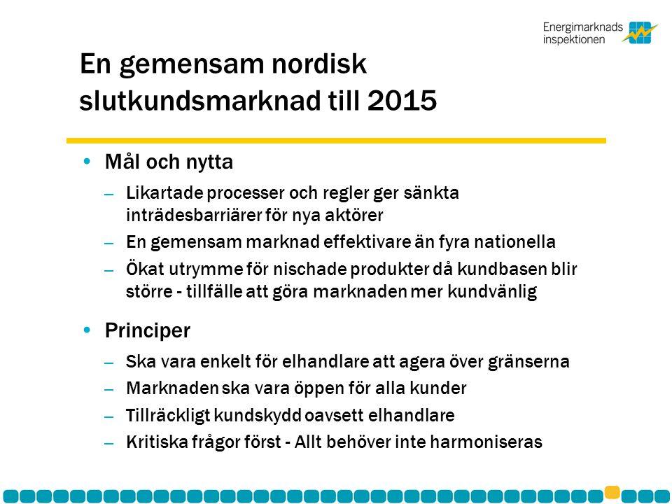 En gemensam nordisk slutkundsmarknad till 2015 •Mål och nytta – Likartade processer och regler ger sänkta inträdesbarriärer för nya aktörer – En gemensam marknad effektivare än fyra nationella – Ökat utrymme för nischade produkter då kundbasen blir större - tillfälle att göra marknaden mer kundvänlig •Principer – Ska vara enkelt för elhandlare att agera över gränserna – Marknaden ska vara öppen för alla kunder – Tillräckligt kundskydd oavsett elhandlare – Kritiska frågor först - Allt behöver inte harmoniseras
