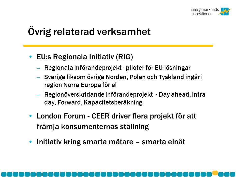 Övrig relaterad verksamhet •EU:s Regionala Initiativ (RIG) – Regionala införandeprojekt - piloter för EU-lösningar – Sverige liksom övriga Norden, Polen och Tyskland ingår i region Norra Europa för el – Regionöverskridande införandeprojekt - Day ahead, Intra day, Forward, Kapacitetsberäkning •London Forum - CEER driver flera projekt för att främja konsumenternas ställning •Initiativ kring smarta mätare – smarta elnät