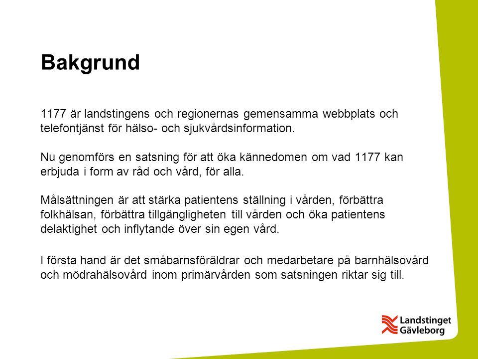 Bakgrund 1177 är landstingens och regionernas gemensamma webbplats och telefontjänst för hälso- och sjukvårdsinformation.