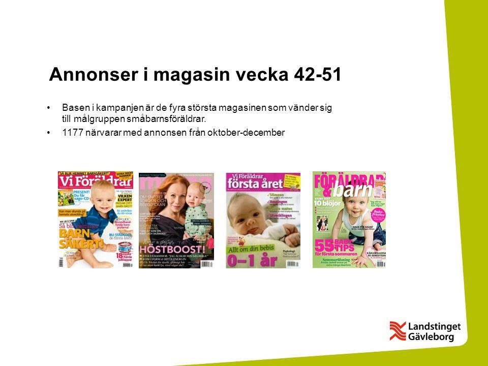 Annonser i magasin vecka 42-51 •Basen i kampanjen är de fyra största magasinen som vänder sig till målgruppen småbarnsföräldrar.