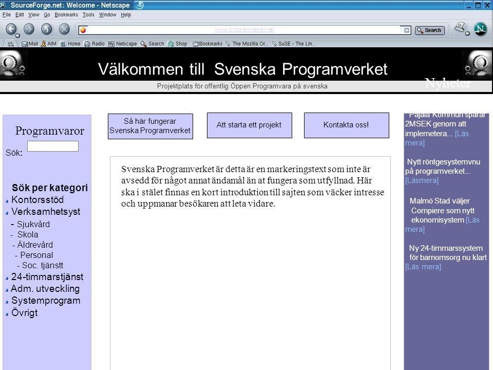 ᄃ ᄃᄃ ᄃ Välkommen till Svenska Programverket Projektplats för offentlig Öppen Programvara på svenska Svenska Programverket drivs av Svenska Kommun och
