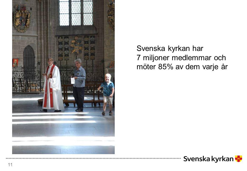 11 Svenska kyrkan har 7 miljoner medlemmar och möter 85% av dem varje år