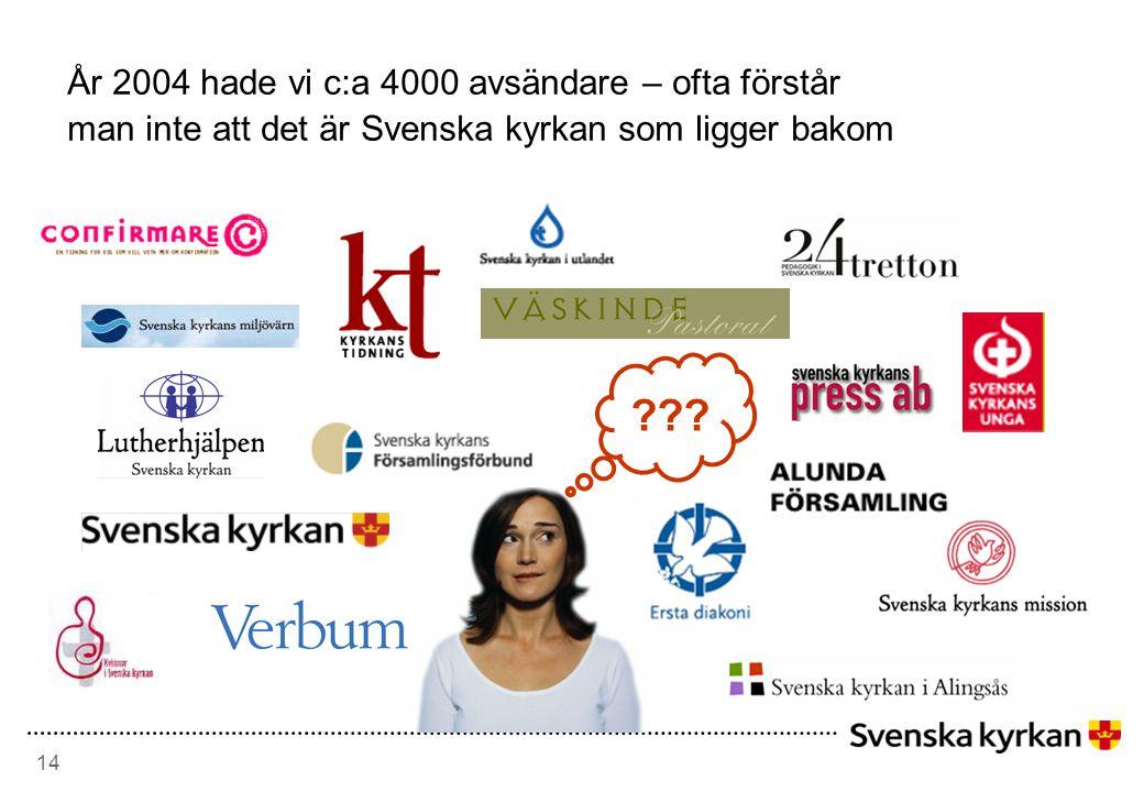 14 År 2004 hade vi c:a 4000 avsändare – ofta förstår man inte att det är Svenska kyrkan som ligger bakom ???