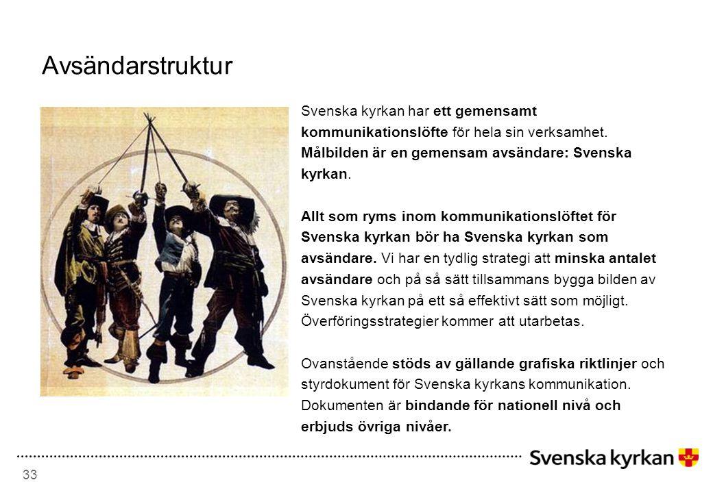 33 Avsändarstruktur Svenska kyrkan har ett gemensamt kommunikationslöfte för hela sin verksamhet.