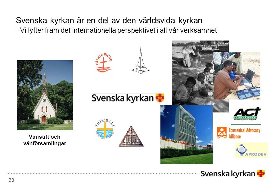 38 Svenska kyrkan är en del av den världsvida kyrkan - Vi lyfter fram det internationella perspektivet i all vår verksamhet Vänstift och vänförsamlingar