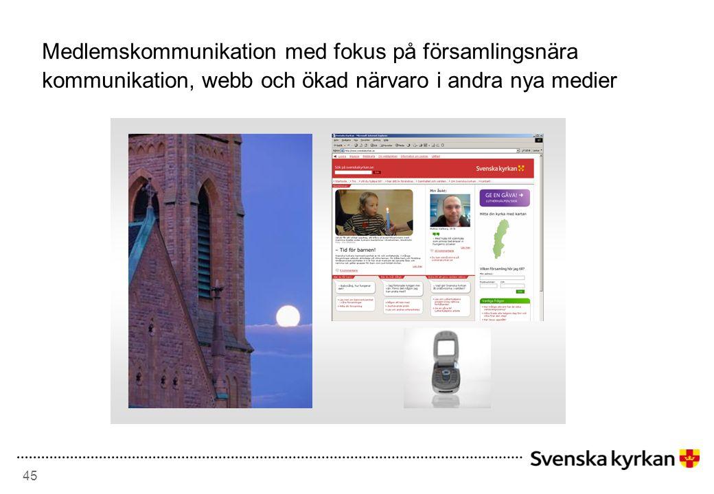 45 Medlemskommunikation med fokus på församlingsnära kommunikation, webb och ökad närvaro i andra nya medier