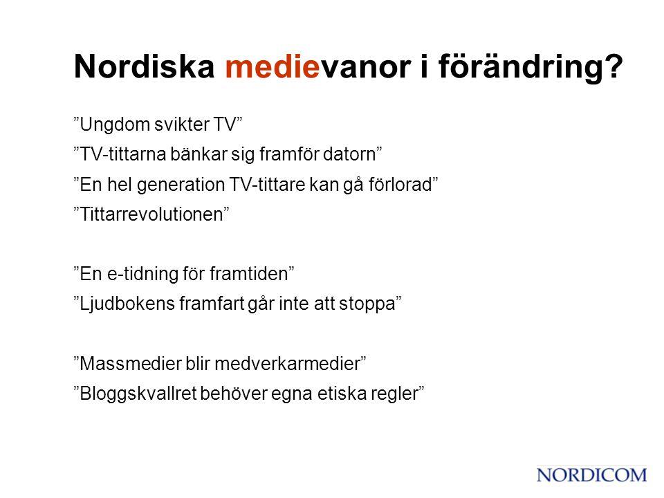 • Tittandet stabilt – trots ökat utbud • Alla åldrar tittar Pensionärer lägger mest tid • Nischkanalernas tittartidsandel ökar • Bakgrundsmedium (?) TV-tittande