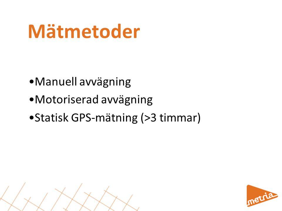 Mätmetoder •Manuell avvägning •Motoriserad avvägning •Statisk GPS-mätning (>3 timmar)