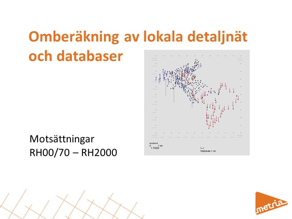 Omberäkning av lokala detaljnät och databaser Motsättningar RH00/70 – RH2000