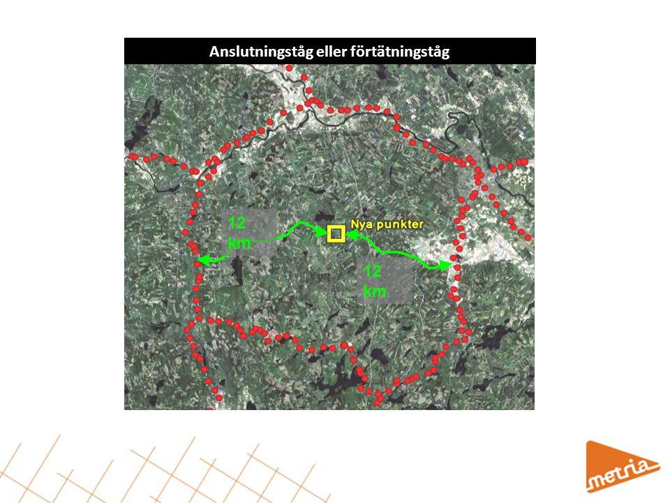 12 km Anslutningståg eller förtätningståg