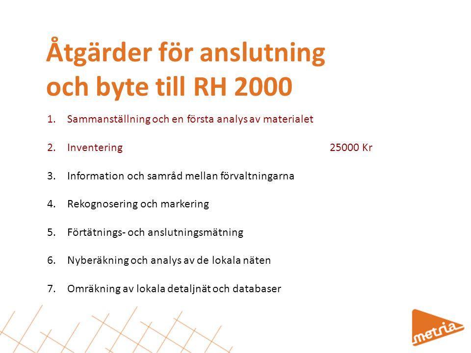 Inventering Arbetsbeskrivning för inventeringen: Leta upp beskrivande dokument och kartor Identifiera gällande höjdfixnät Visualisera nätet grafiskt Identifiera gemensamma punkter, RH2000 – lokala.