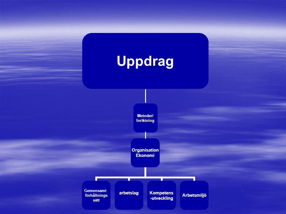 Organisation Ekonomi Gemensamt förhållnings sätt arbetslagKompetens -utveckling Arbetsmiljö Metoder/ Inriktning Uppdrag
