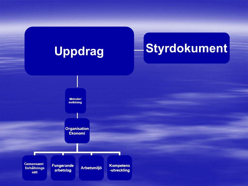 Organisation Ekonomi Gemensamt förhållnings sätt Fungerande arbetslag Arbetsmiljö Kompetens -utveckling Metoder/ inriktning Uppdrag Styrdokument