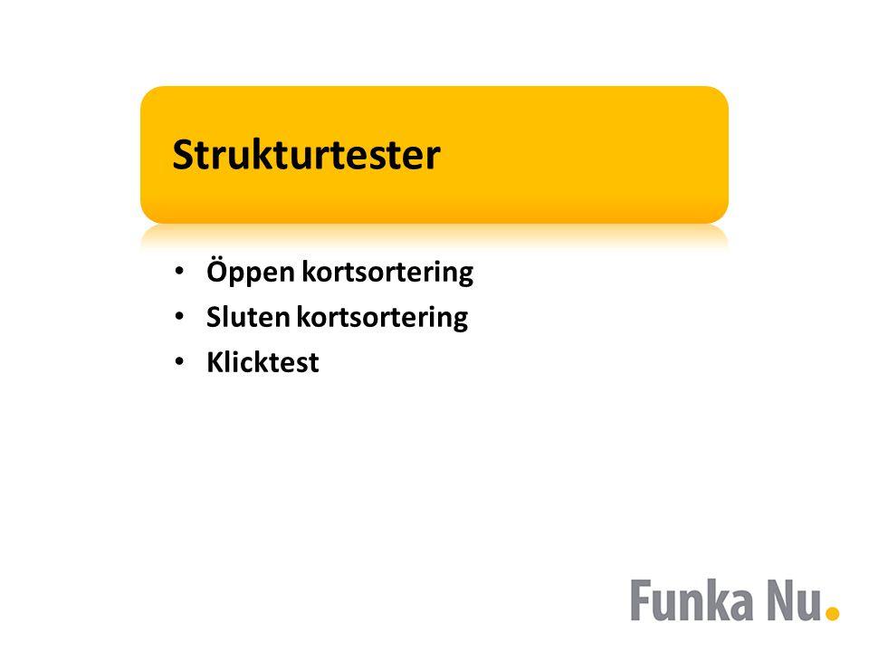 Strukturtester • Öppen kortsortering • Sluten kortsortering • Klicktest