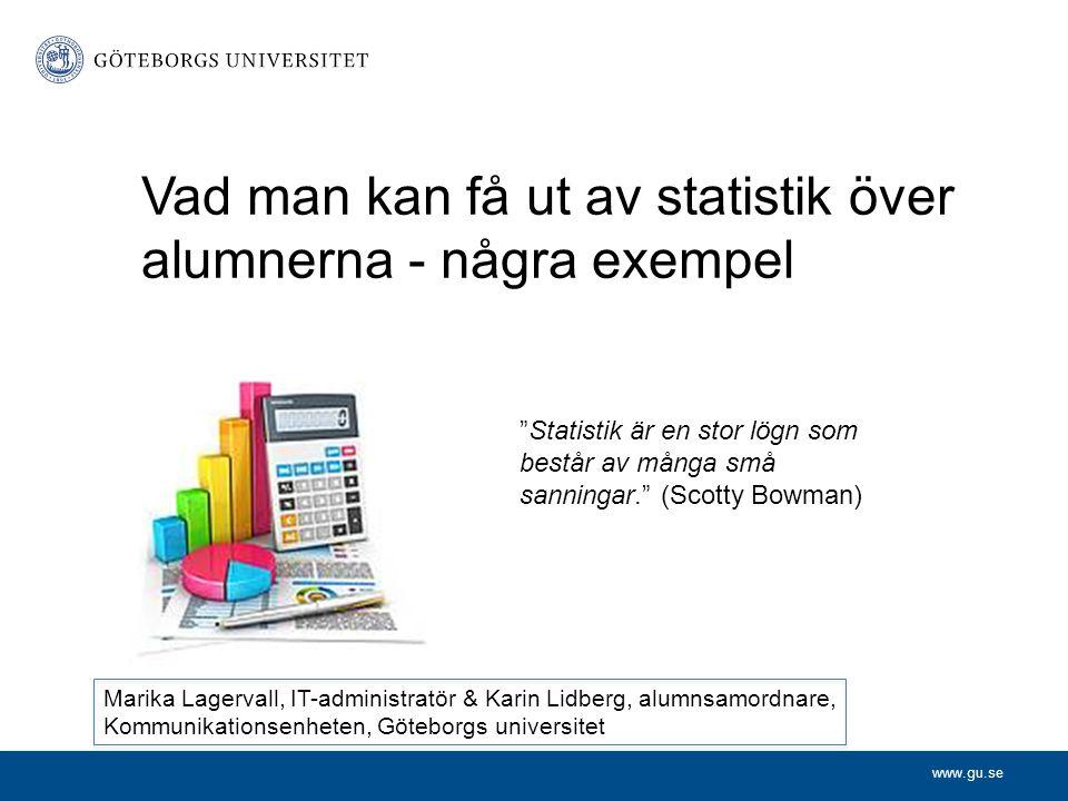 """www.gu.se Vad man kan få ut av statistik över alumnerna - några exempel """"Statistik är en stor lögn som består av många små sanningar."""" (Scotty Bowman)"""